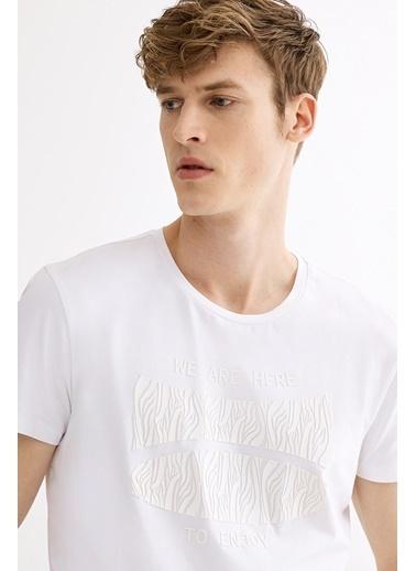 Avva Erkek  Bisiklet Yaka Baskılı Tişört A01Y1020 Beyaz